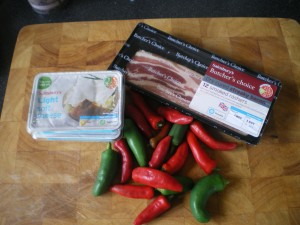 Bacon wrapped, cheese stuffed chillies 004