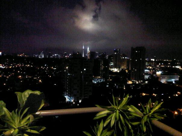 Night view from the balcony, looking at the Petronas Towers
